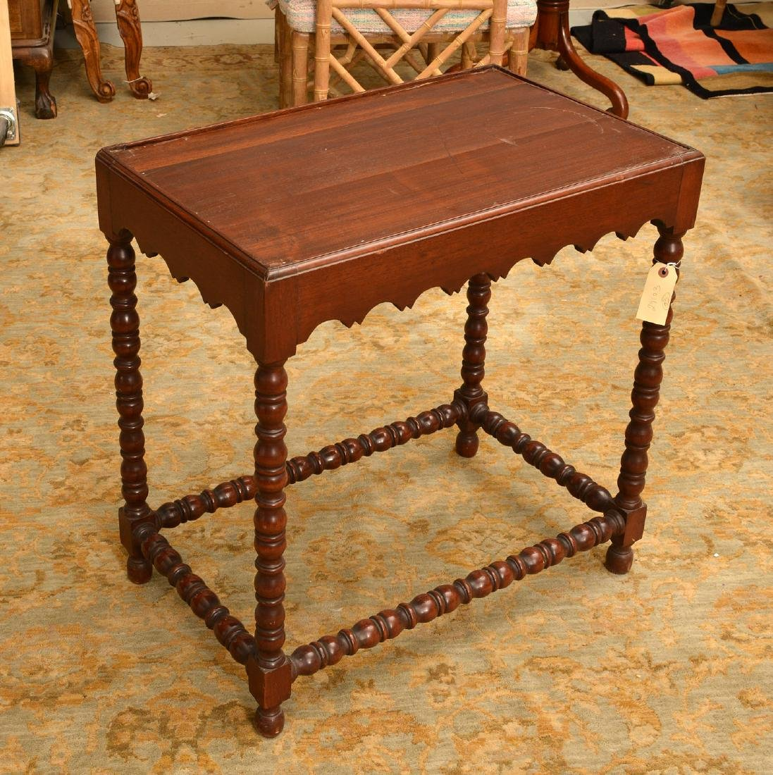 Late Victorian side table with bobbin-turned legs