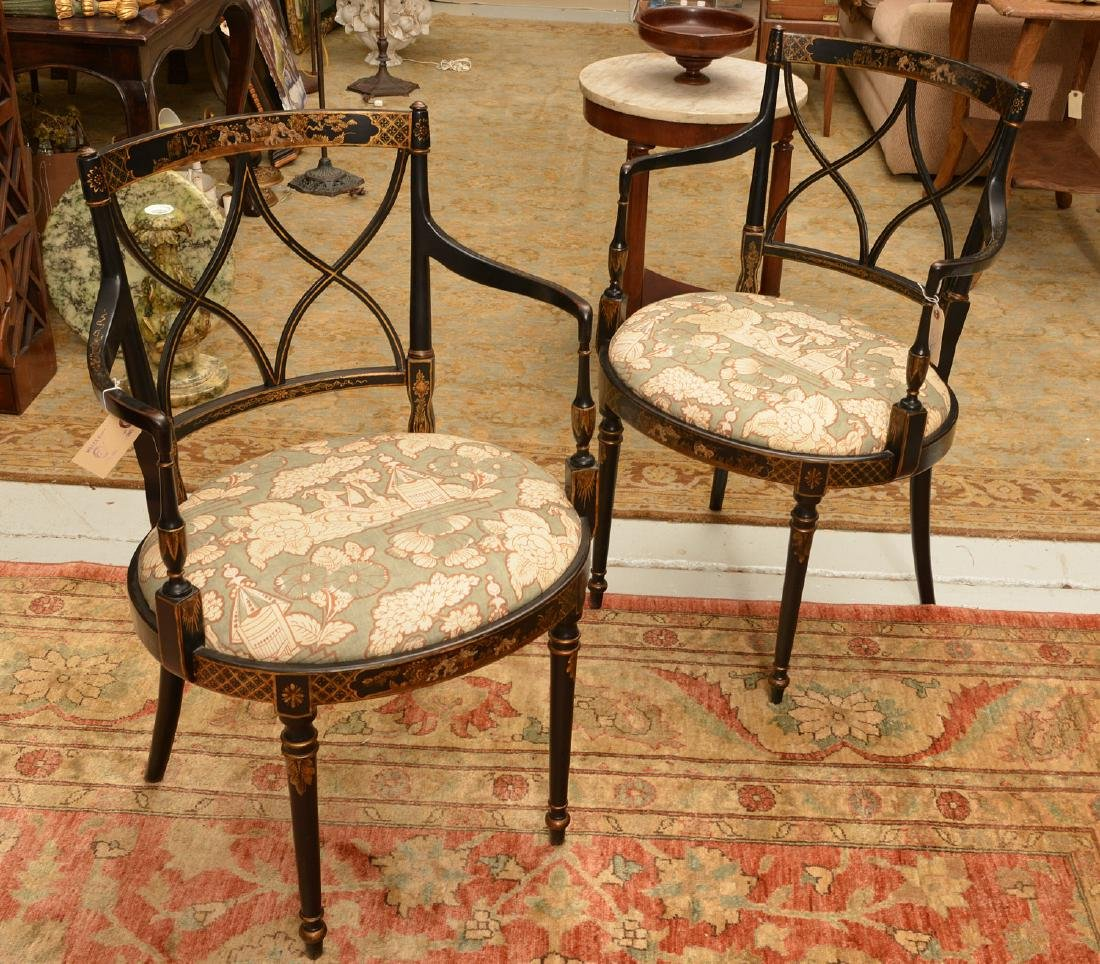 Pair George III style chinoiserie armchairs