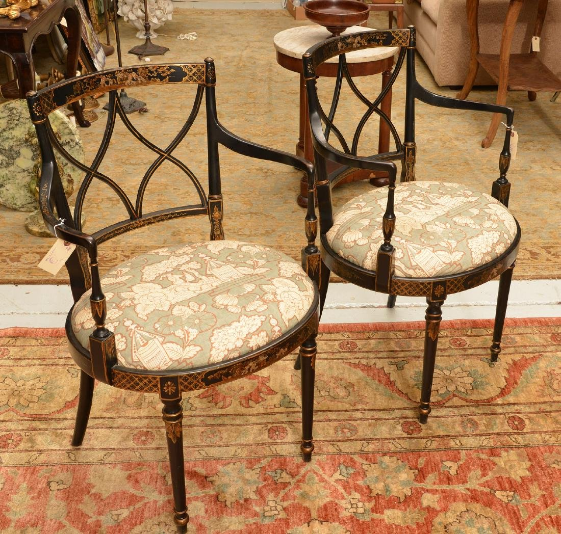 Pair George III style chinoiserie armchairs - 2