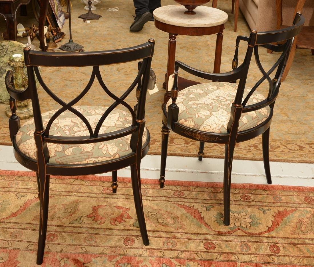 Pair George III style chinoiserie armchairs - 4