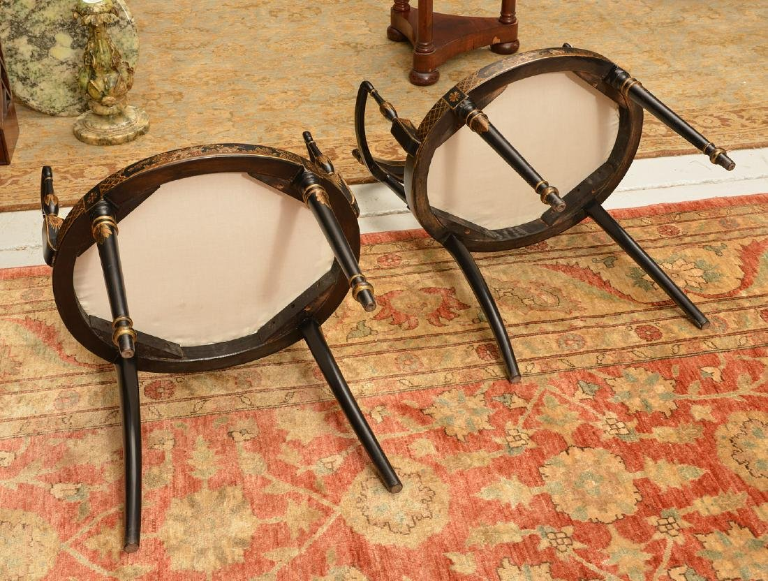 Pair George III style chinoiserie armchairs - 5