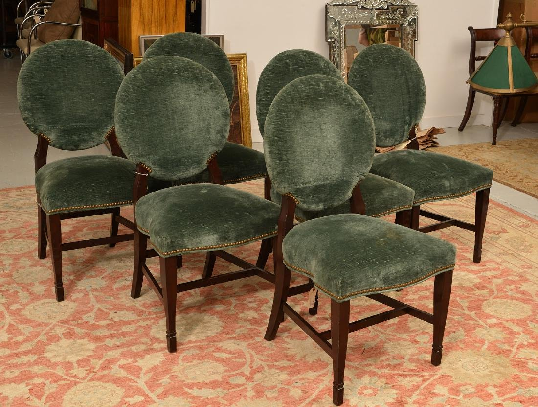 Set (6) Decorator oval back dining chairs