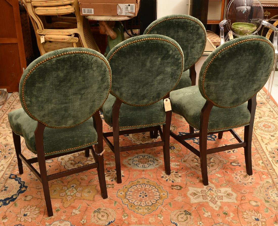 Set (6) Decorator oval back dining chairs - 5