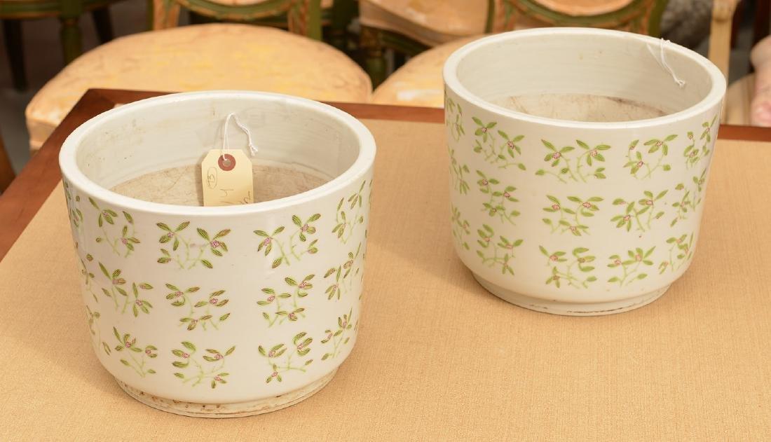 Pair Chinese Export porcelain jardinieres