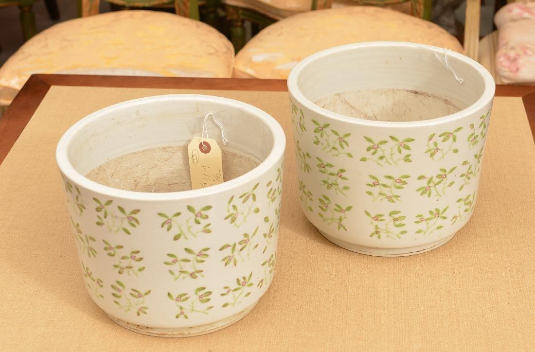 Pair Chinese Export porcelain jardinieres - 2