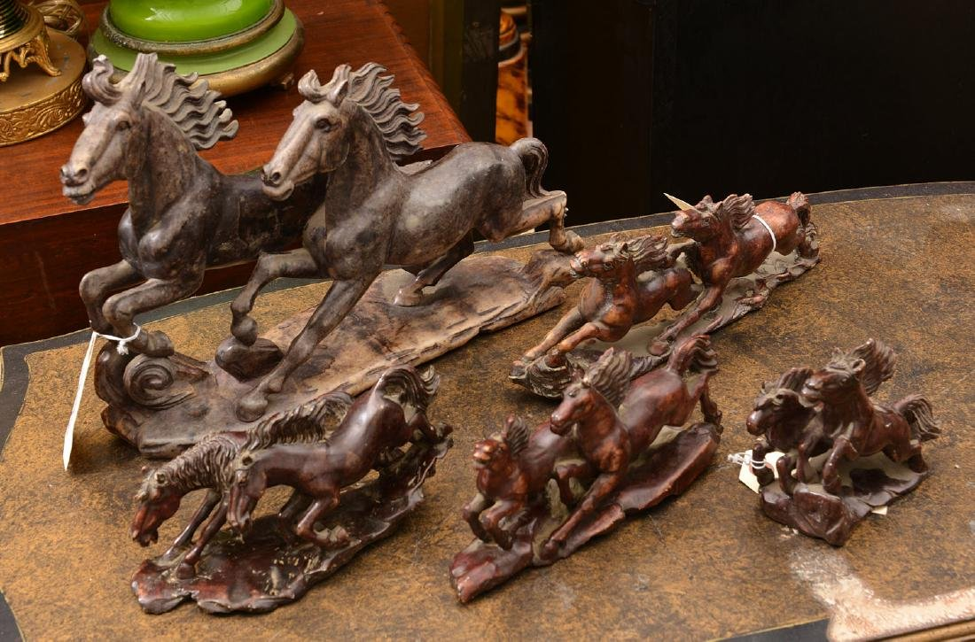 Group (5) Chinese stained soapstone horses