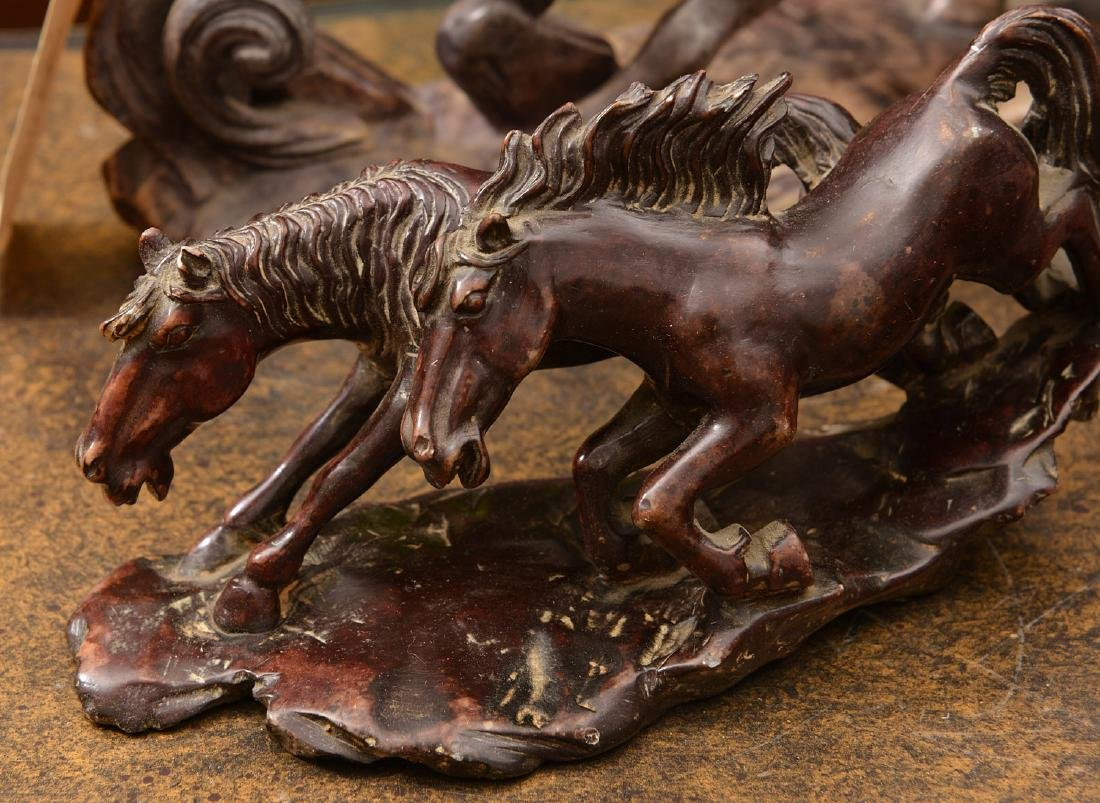 Group (5) Chinese stained soapstone horses - 5