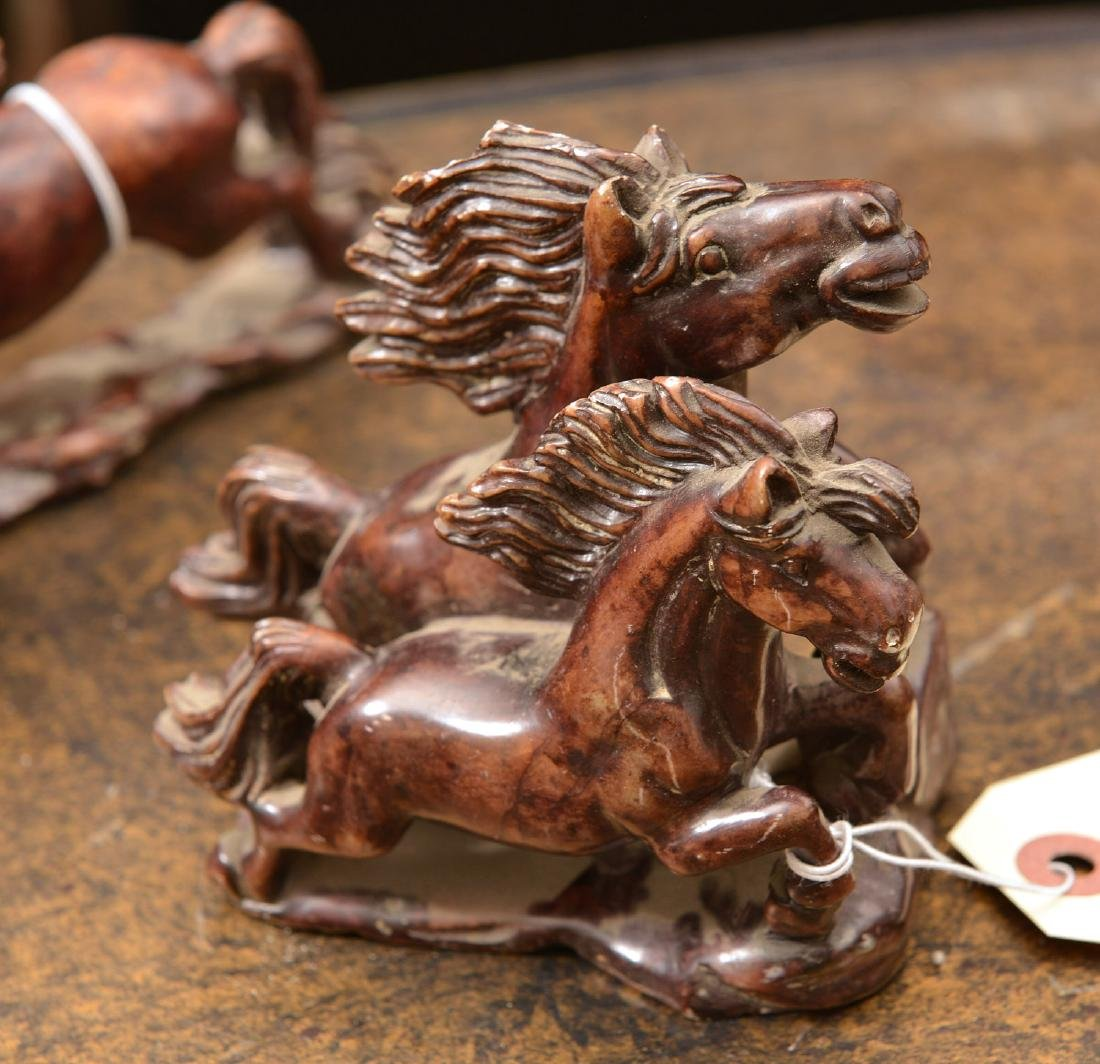 Group (5) Chinese stained soapstone horses - 6