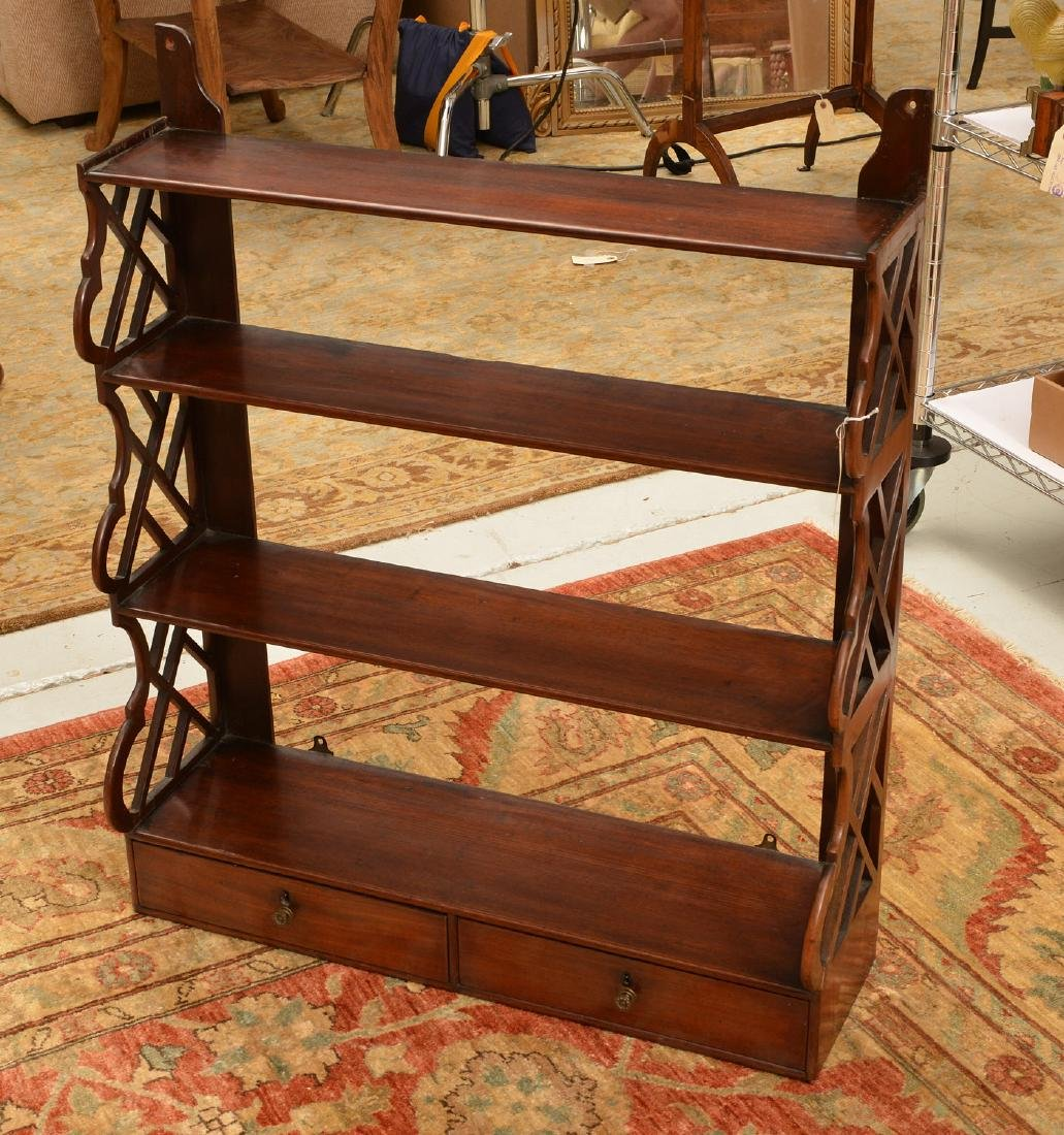 Regency style hanging shelf with drawers