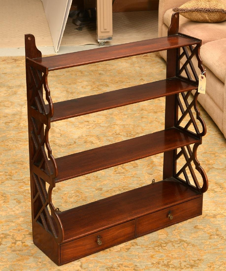 Regency style hanging shelf with drawers - 2