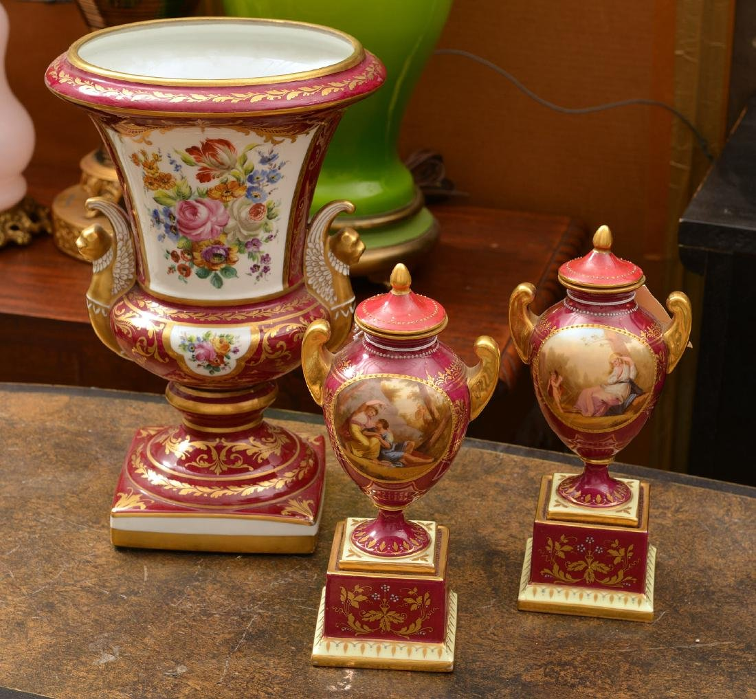 (3) French and Viennese porcelain urns