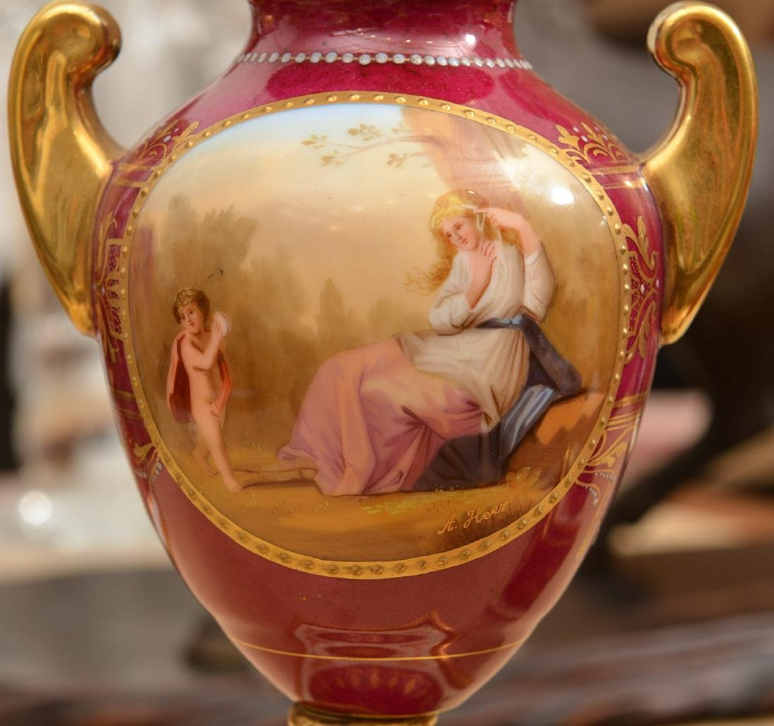 (3) French and Viennese porcelain urns - 2