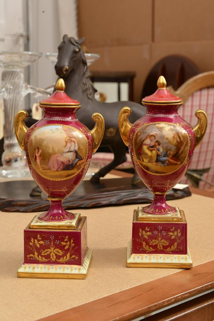 (3) French and Viennese porcelain urns - 4