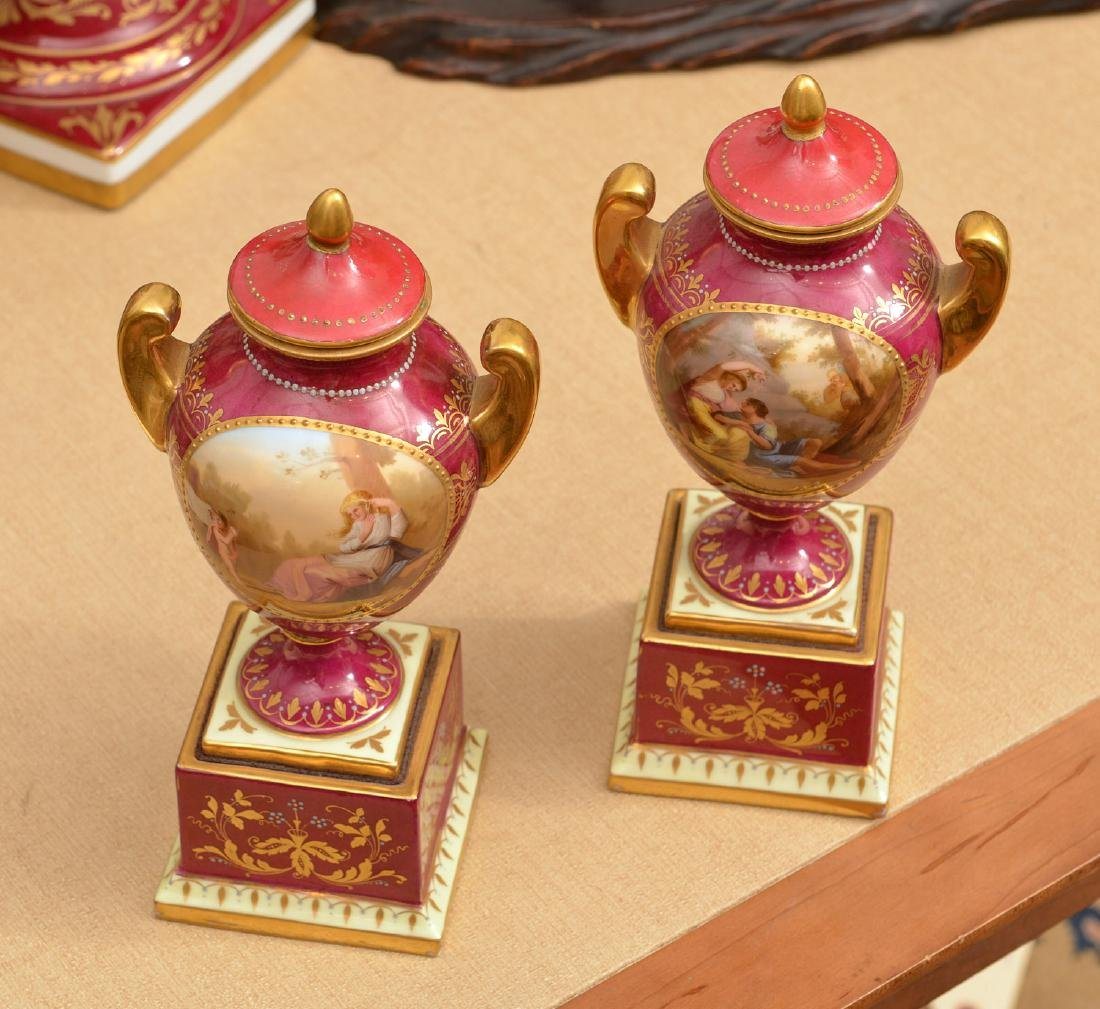 (3) French and Viennese porcelain urns - 5