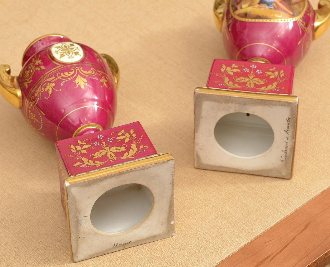 (3) French and Viennese porcelain urns - 6