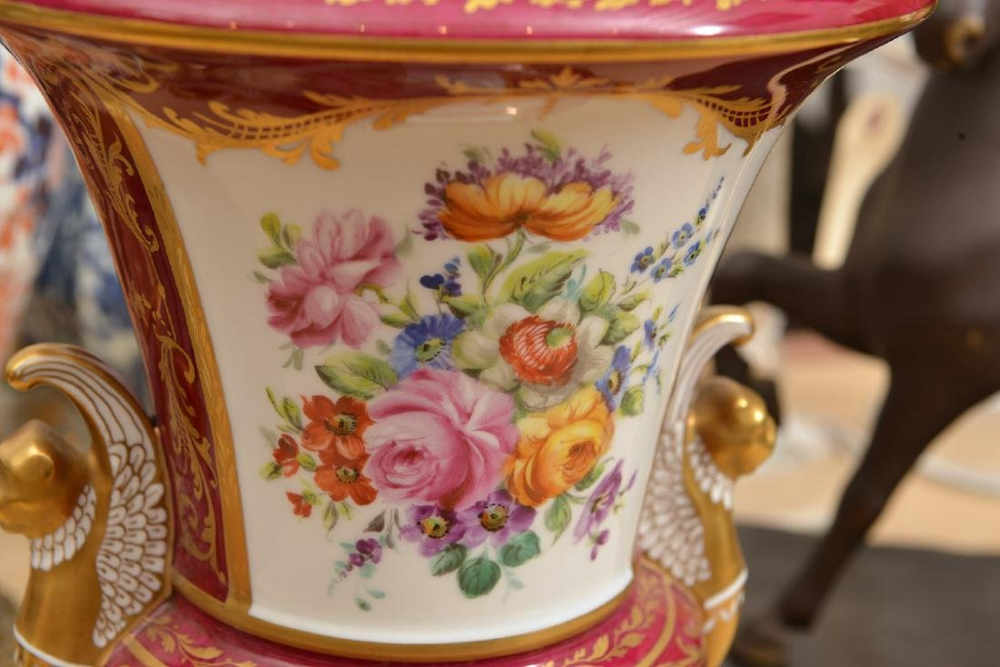(3) French and Viennese porcelain urns - 7
