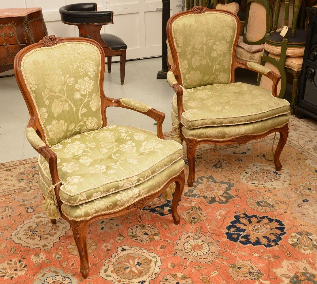 Pair Louis XV style green damask fauteuils