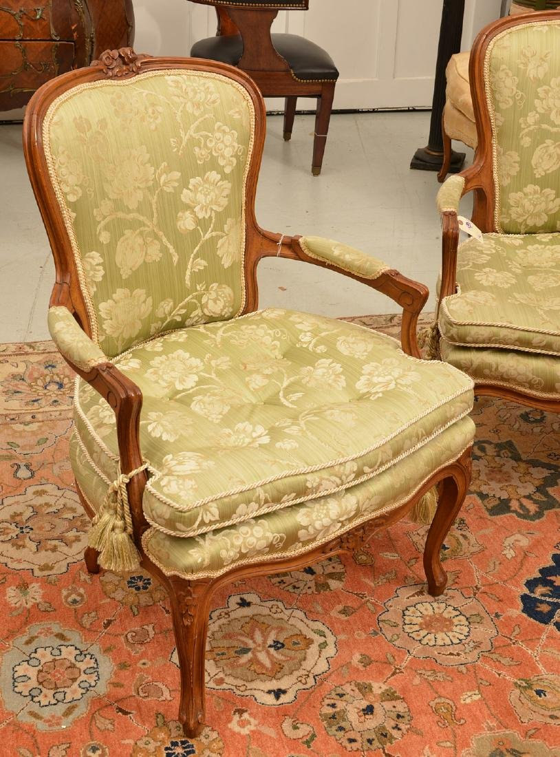 Pair Louis XV style green damask fauteuils - 2