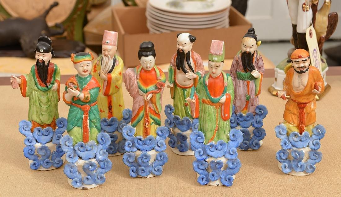 Set (8) Chinese glazed porcelain Immortals