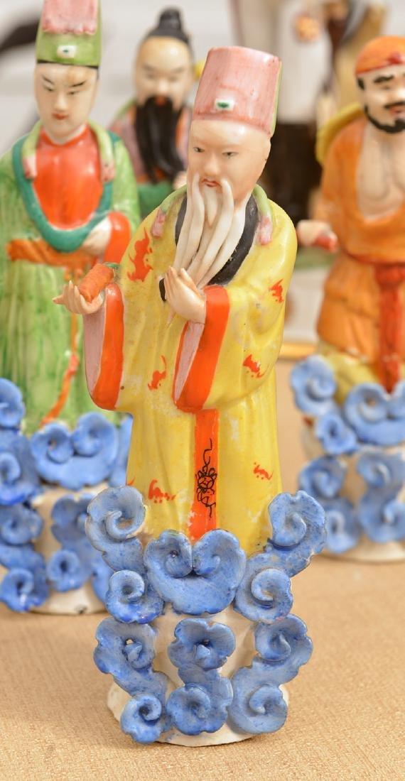 Set (8) Chinese glazed porcelain Immortals - 6