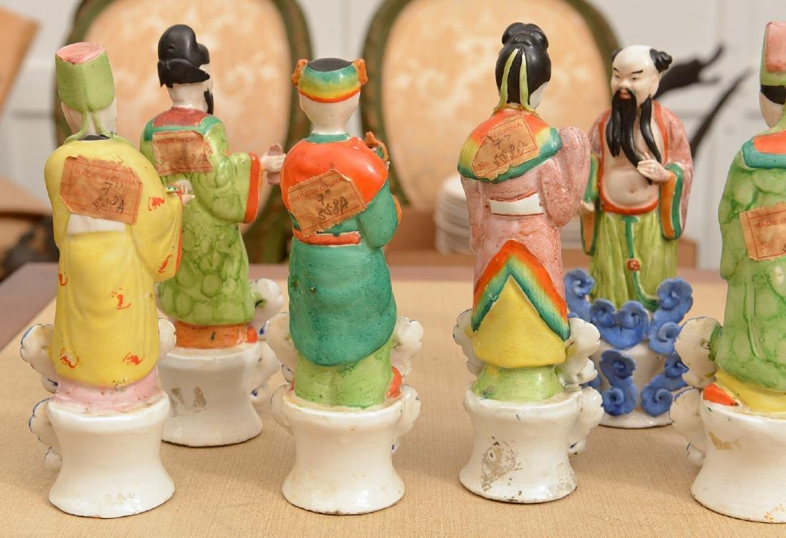 Set (8) Chinese glazed porcelain Immortals - 7