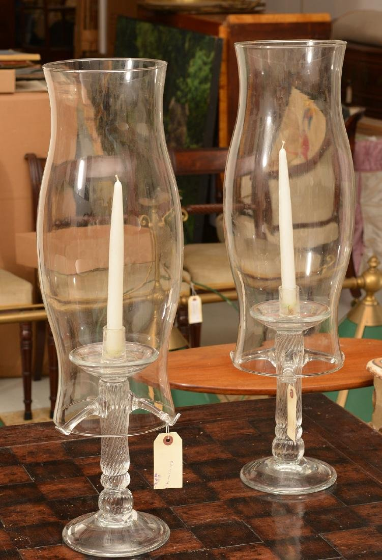 Tree-form Studio glass candlesticks and shades