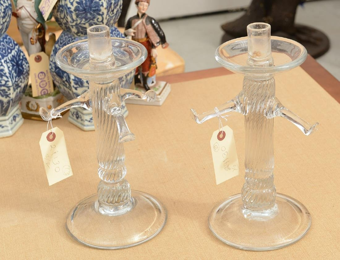 Tree-form Studio glass candlesticks and shades - 2