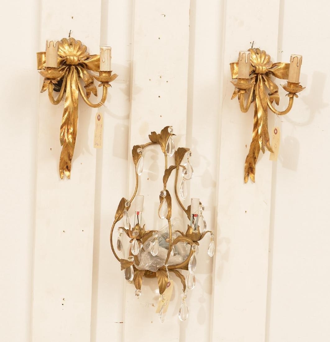 Pair Italian gilt metal bow-knot scones