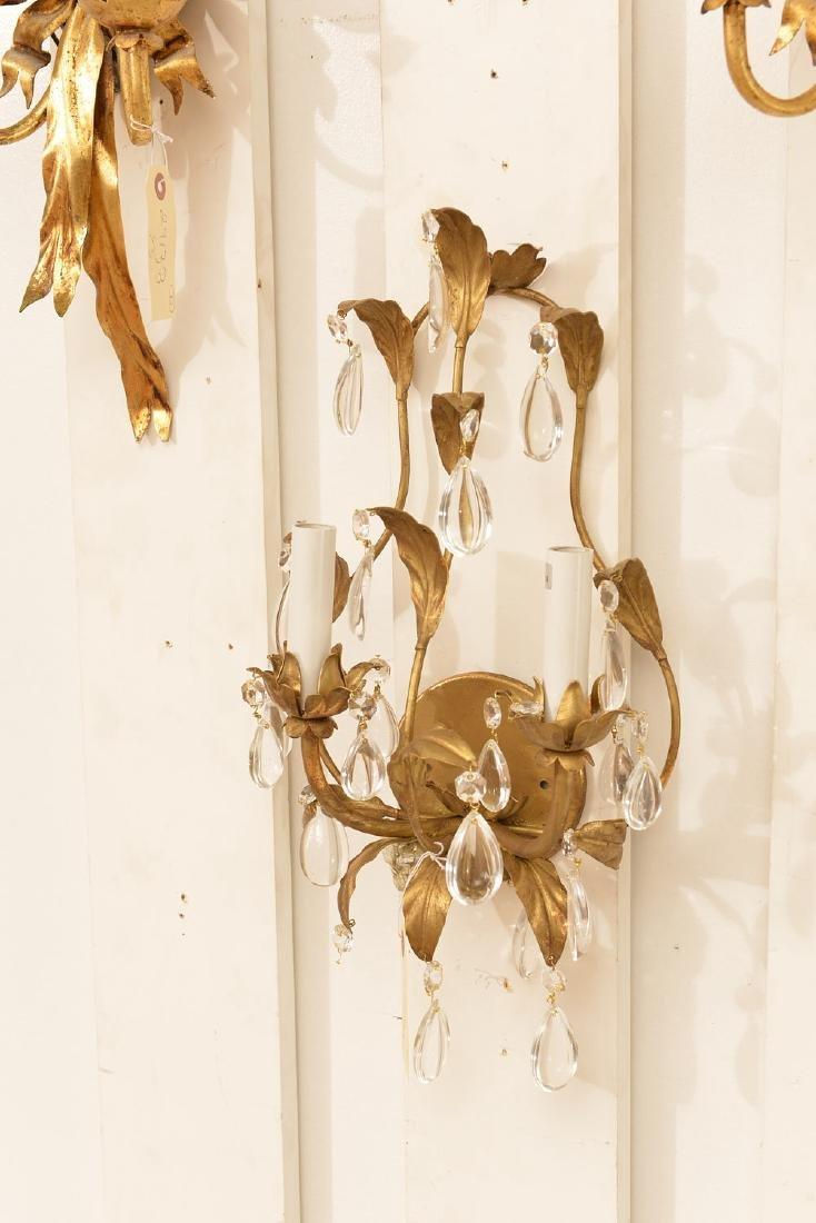 Pair Italian gilt metal bow-knot scones - 4