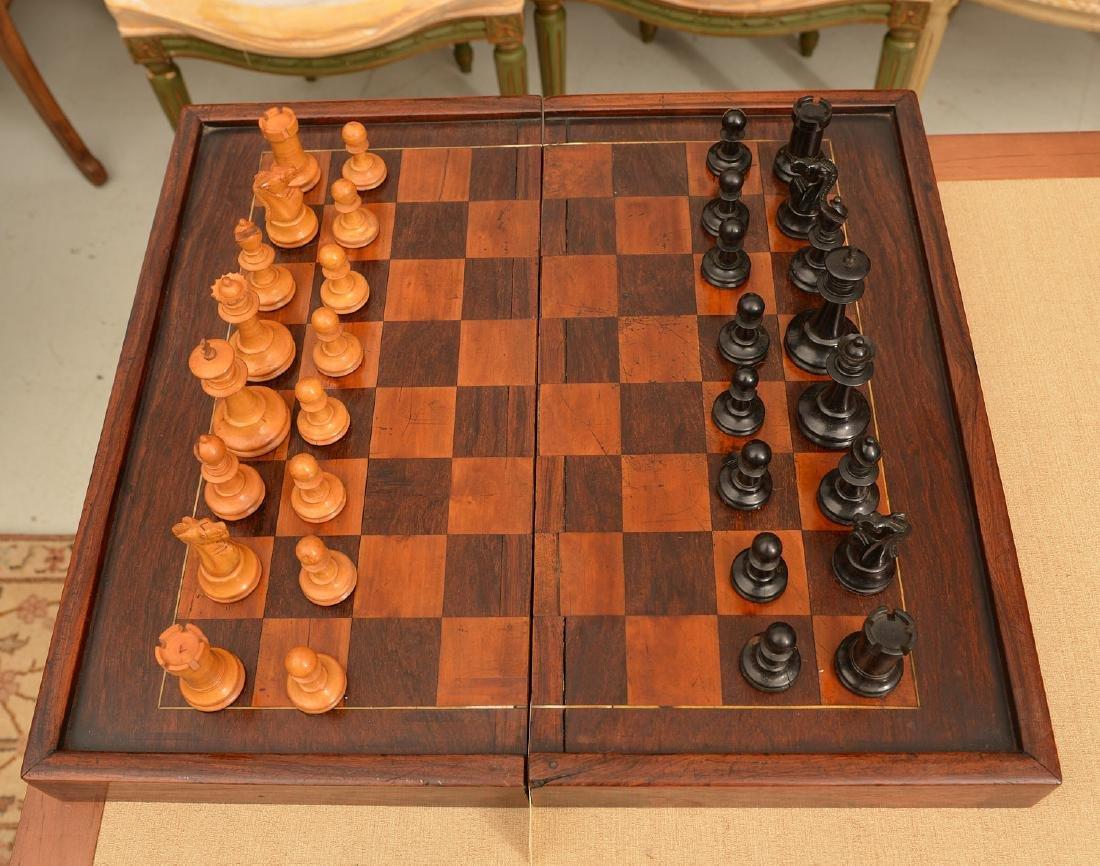 Staunton style chess set and Syrian case - 2