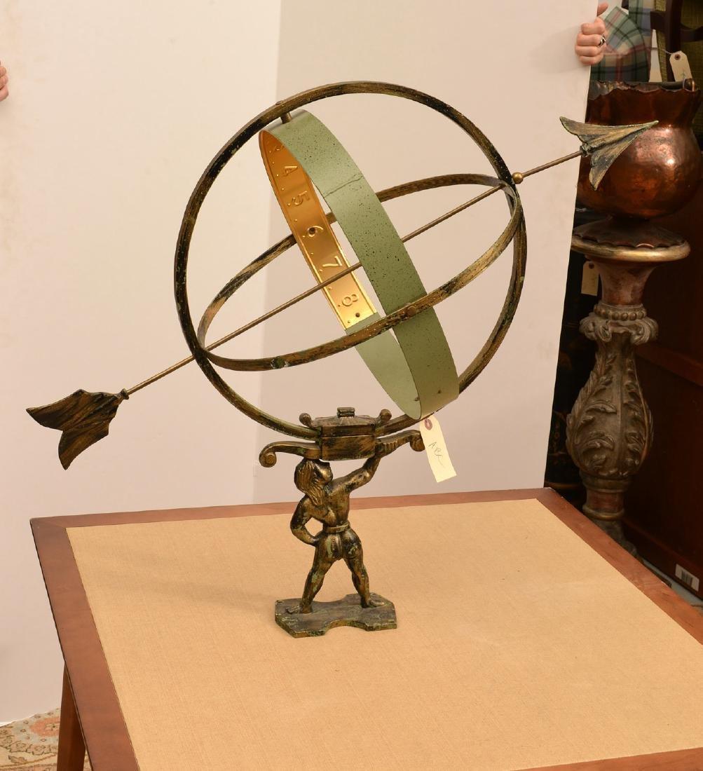 Patinated metal armillary sphere