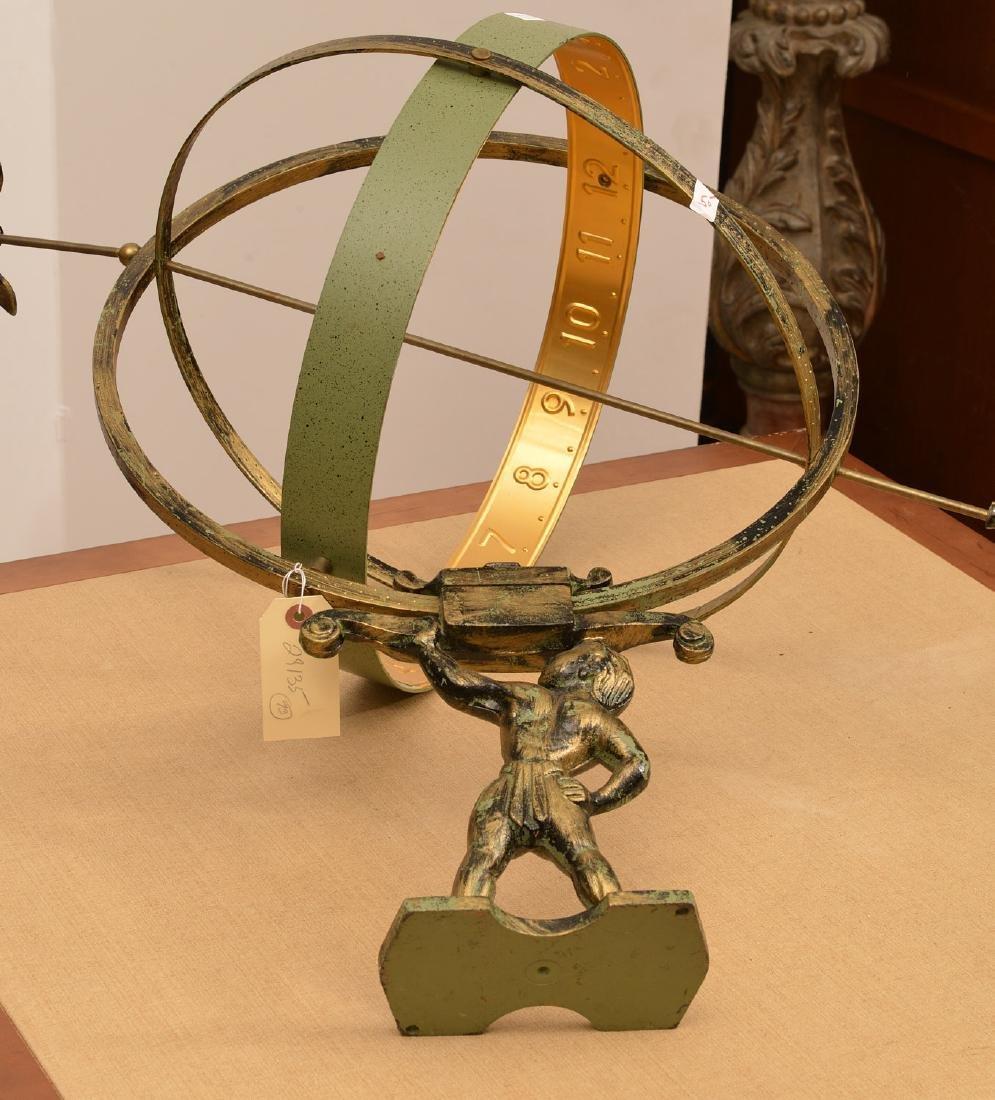 Patinated metal armillary sphere - 4