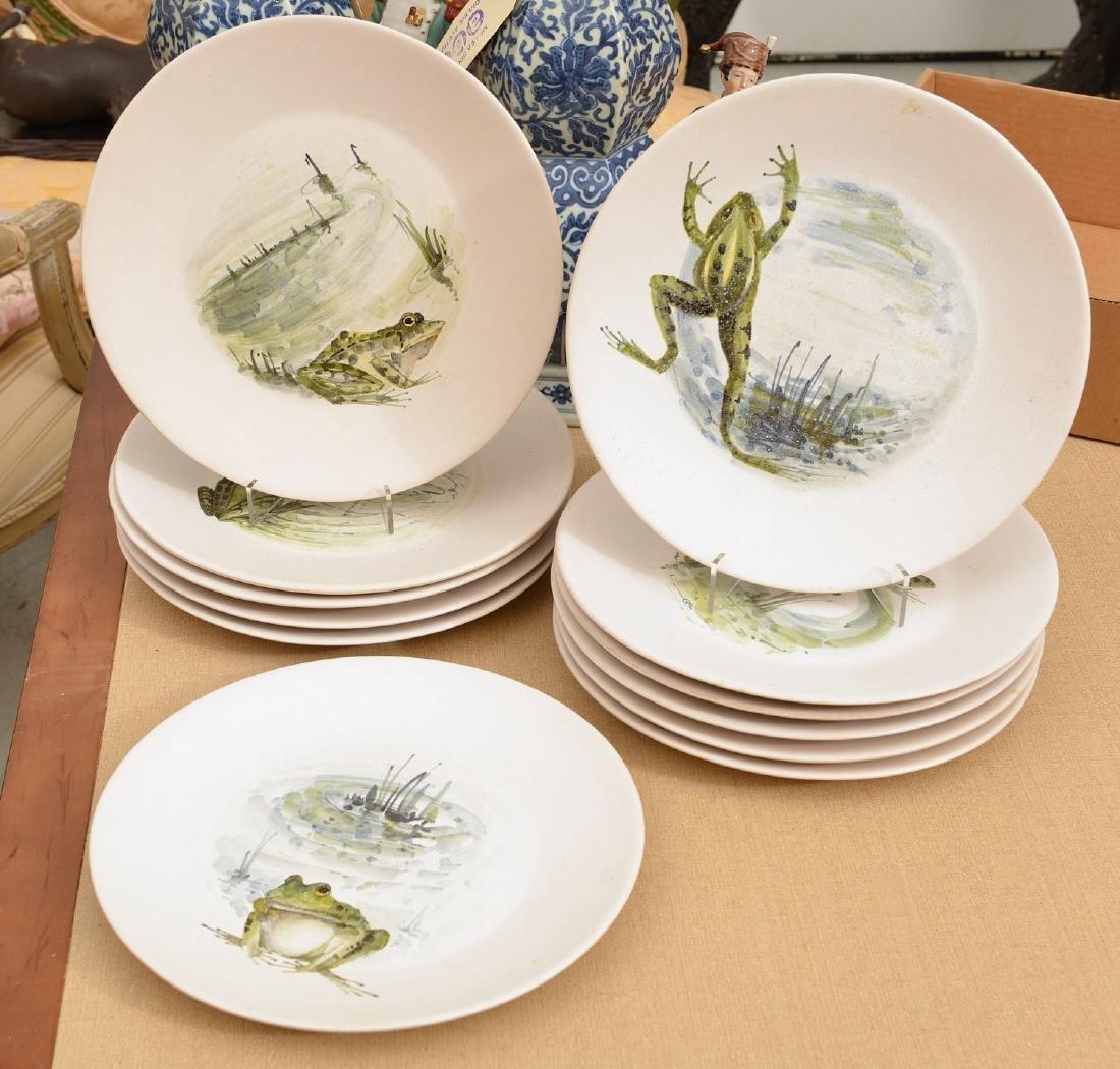 & Set (12) Marcel Guillot pottery Frog plates