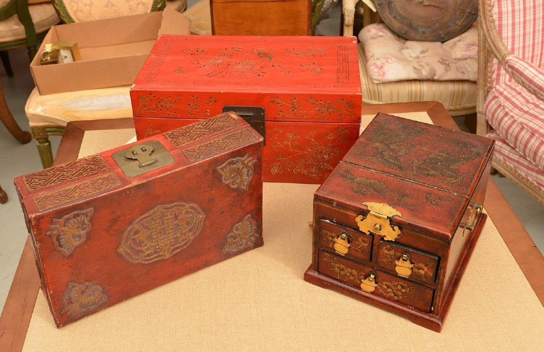 (3) Chinese red lacquered boxes