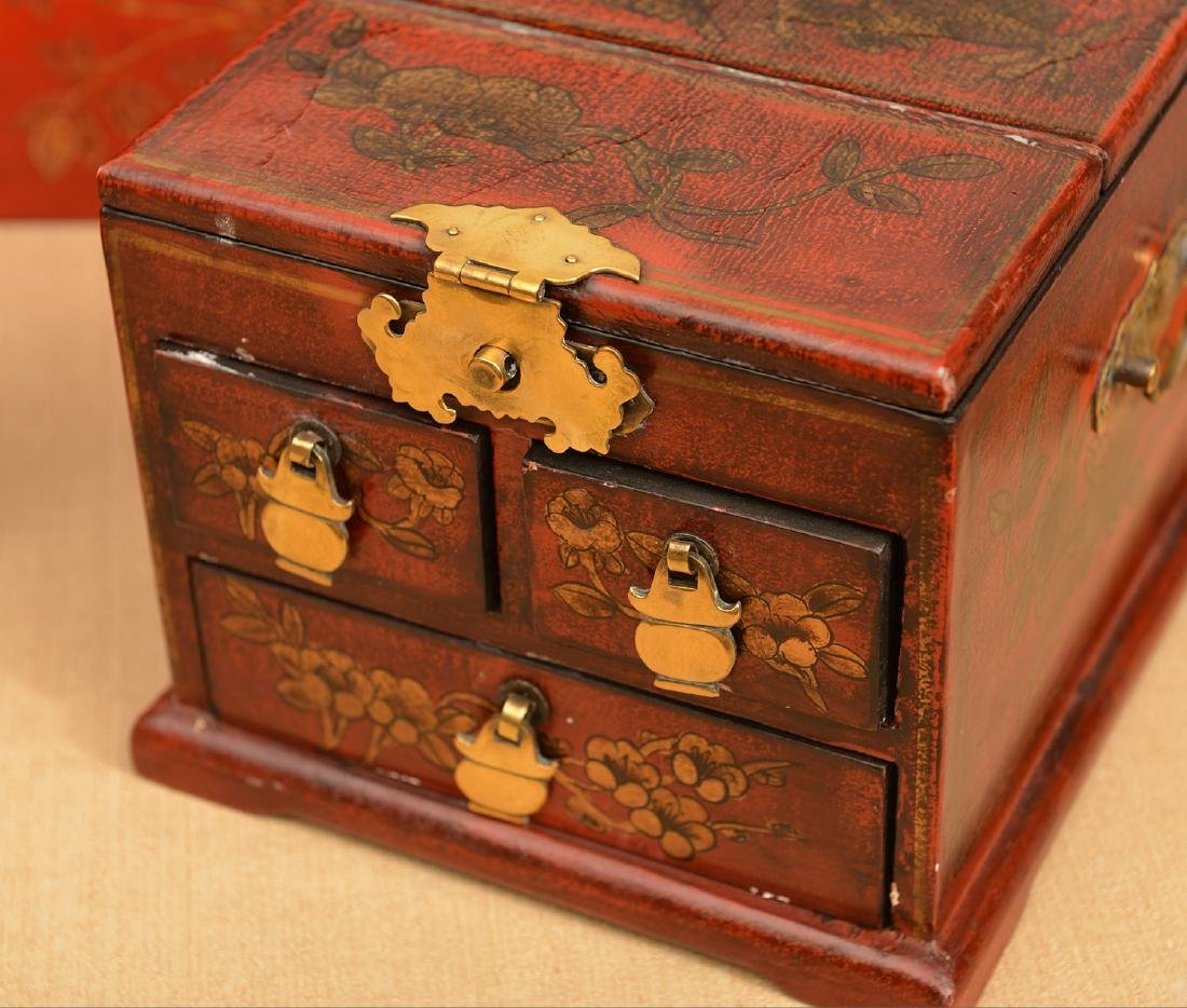 (3) Chinese red lacquered boxes - 2