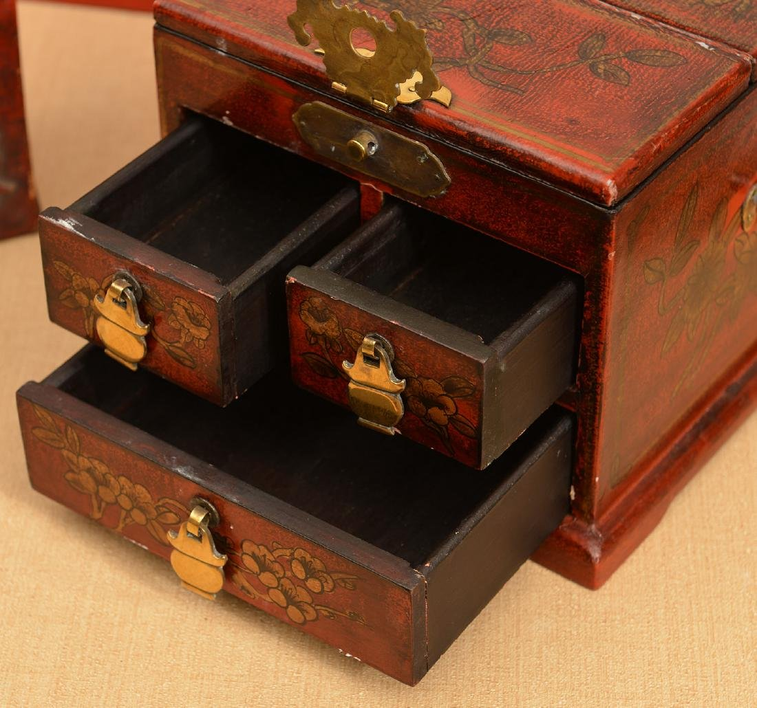 (3) Chinese red lacquered boxes - 3