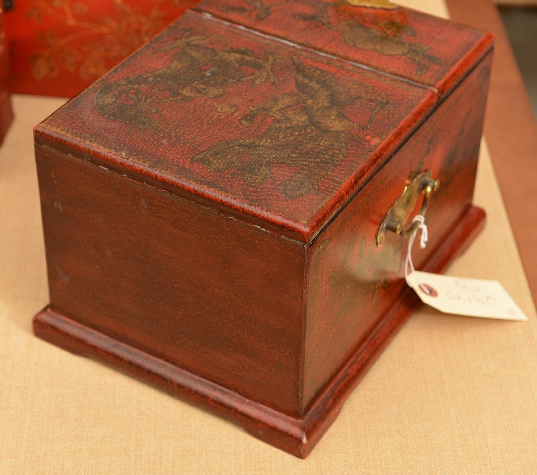 (3) Chinese red lacquered boxes - 4