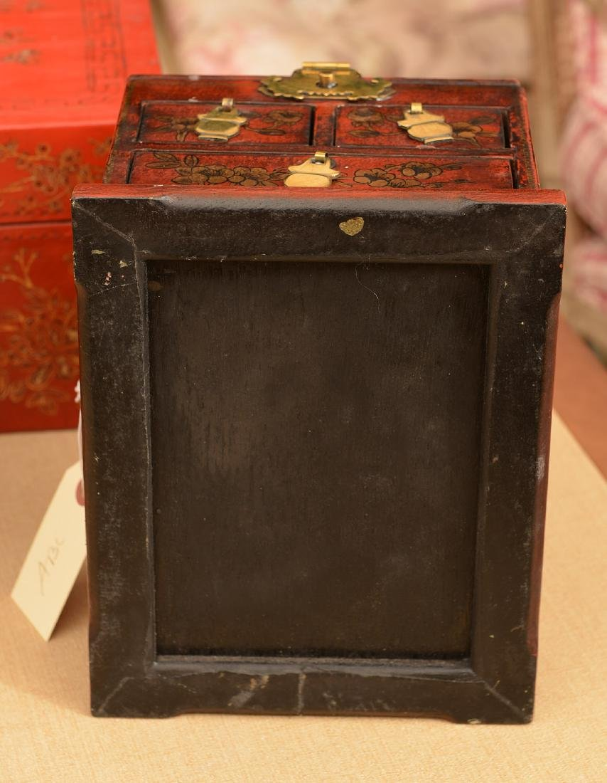 (3) Chinese red lacquered boxes - 6