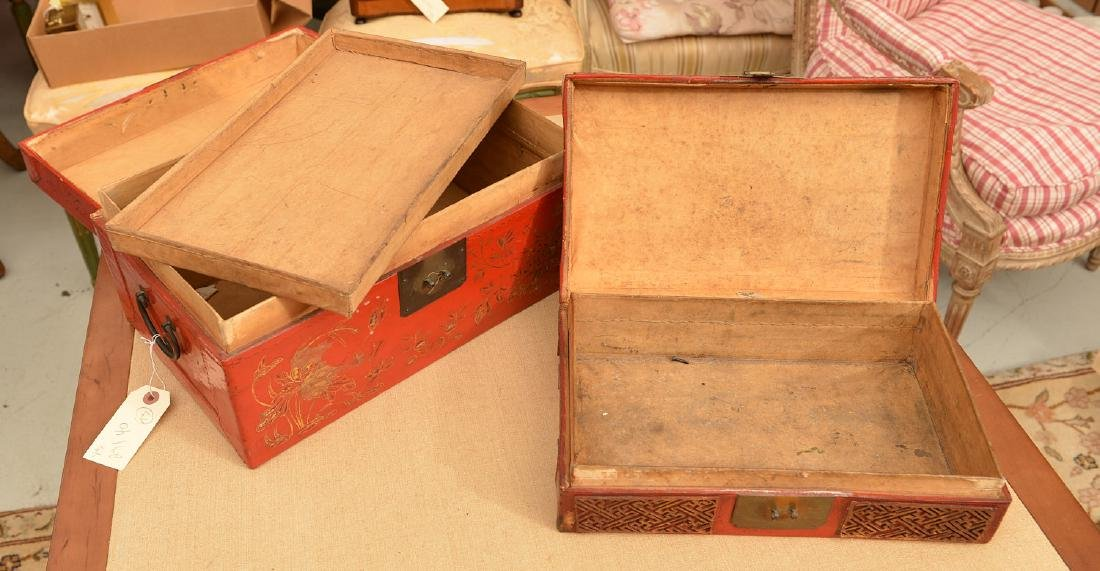 (3) Chinese red lacquered boxes - 7