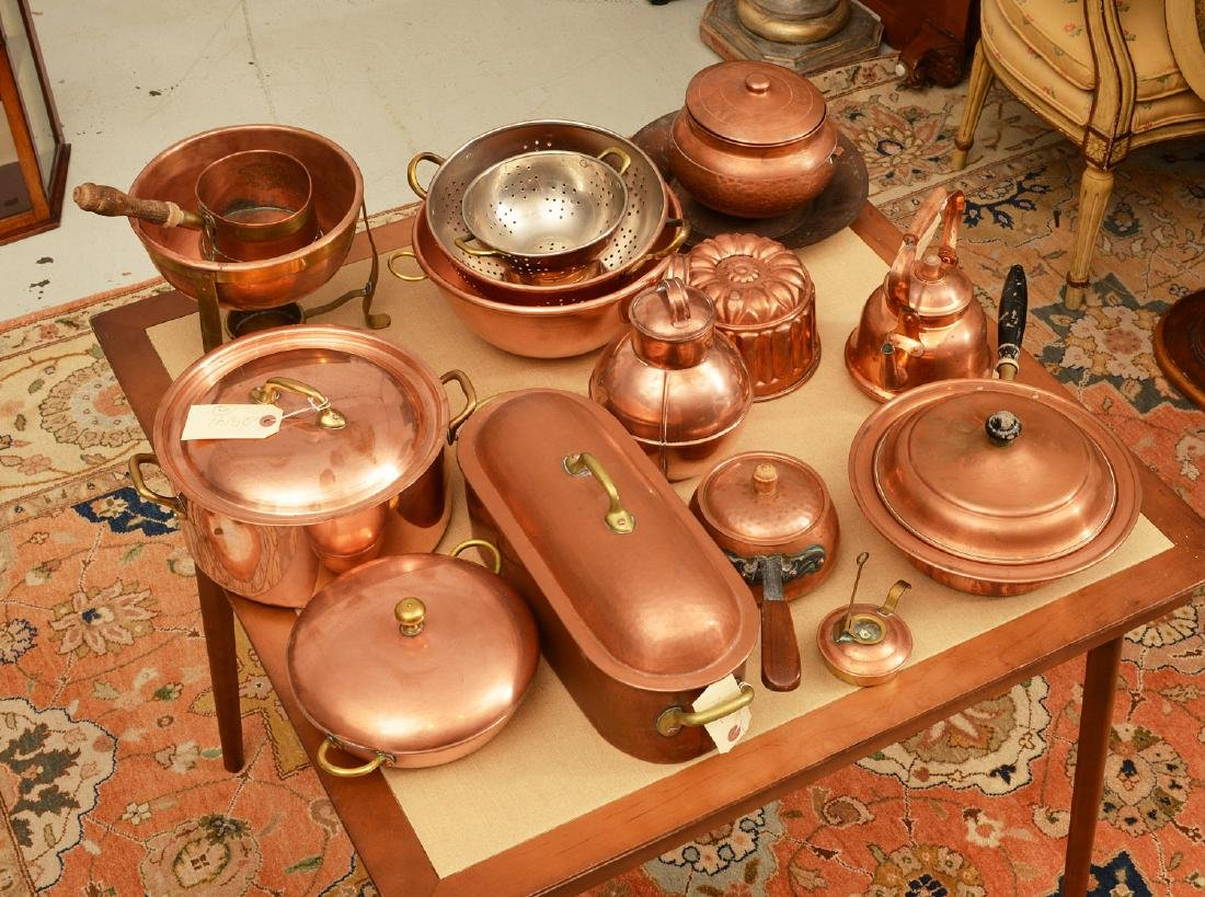 Large group antique and vintage copper cookware