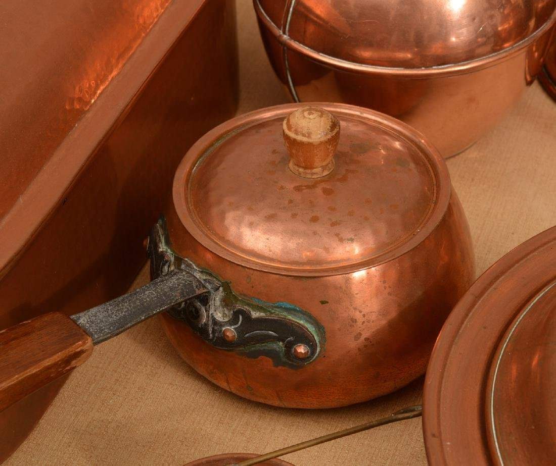 Large group antique and vintage copper cookware - 2