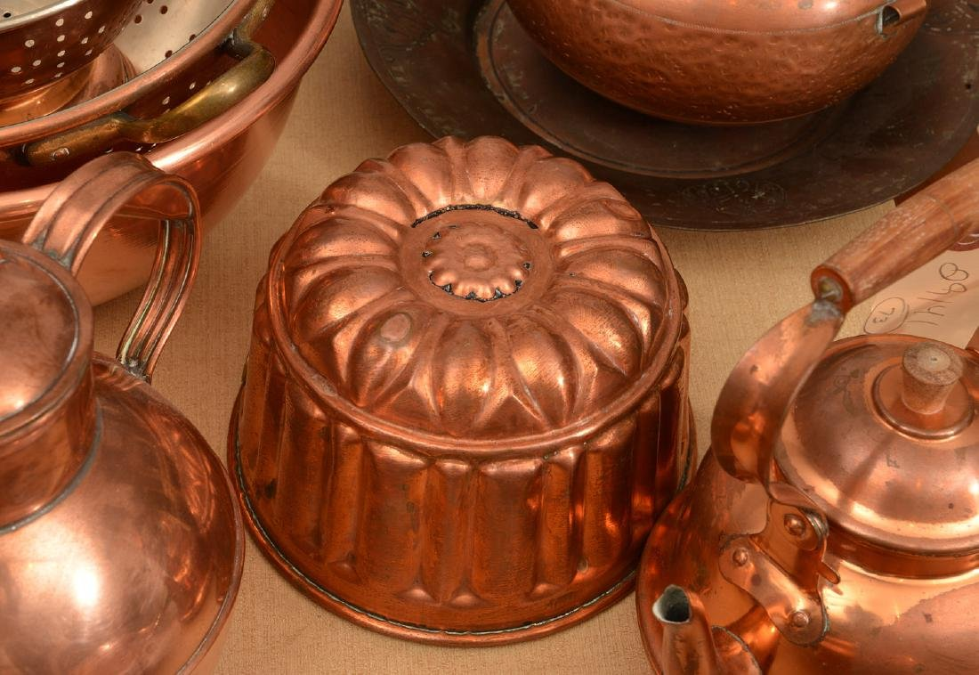 Large group antique and vintage copper cookware - 4