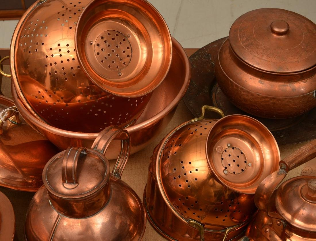 Large group antique and vintage copper cookware - 5