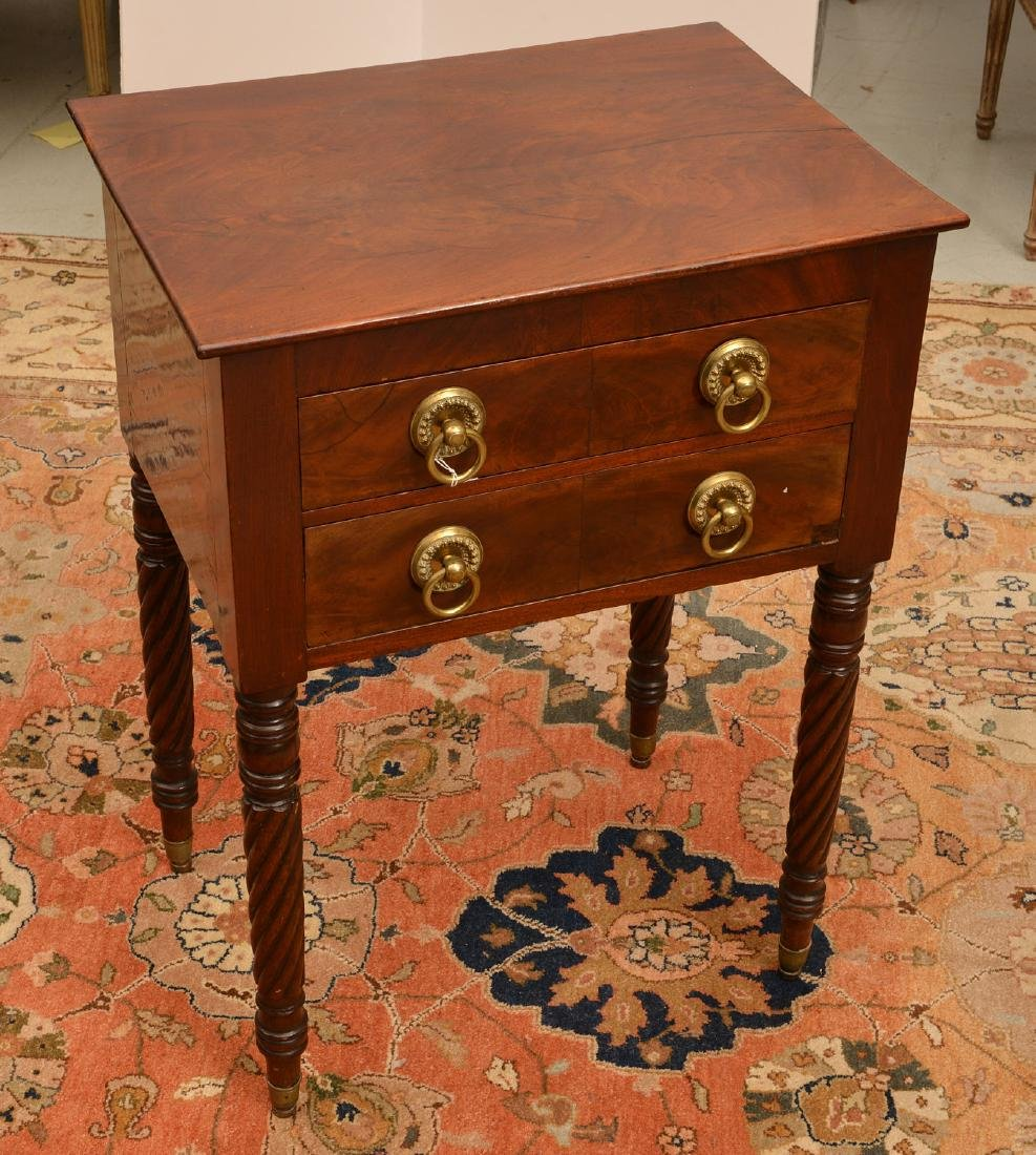 American Classical mahogany 2-drawer stand