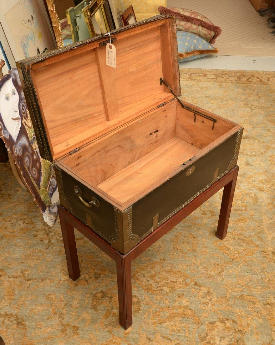 Chinese Export tacked leather trunk on stand - 3