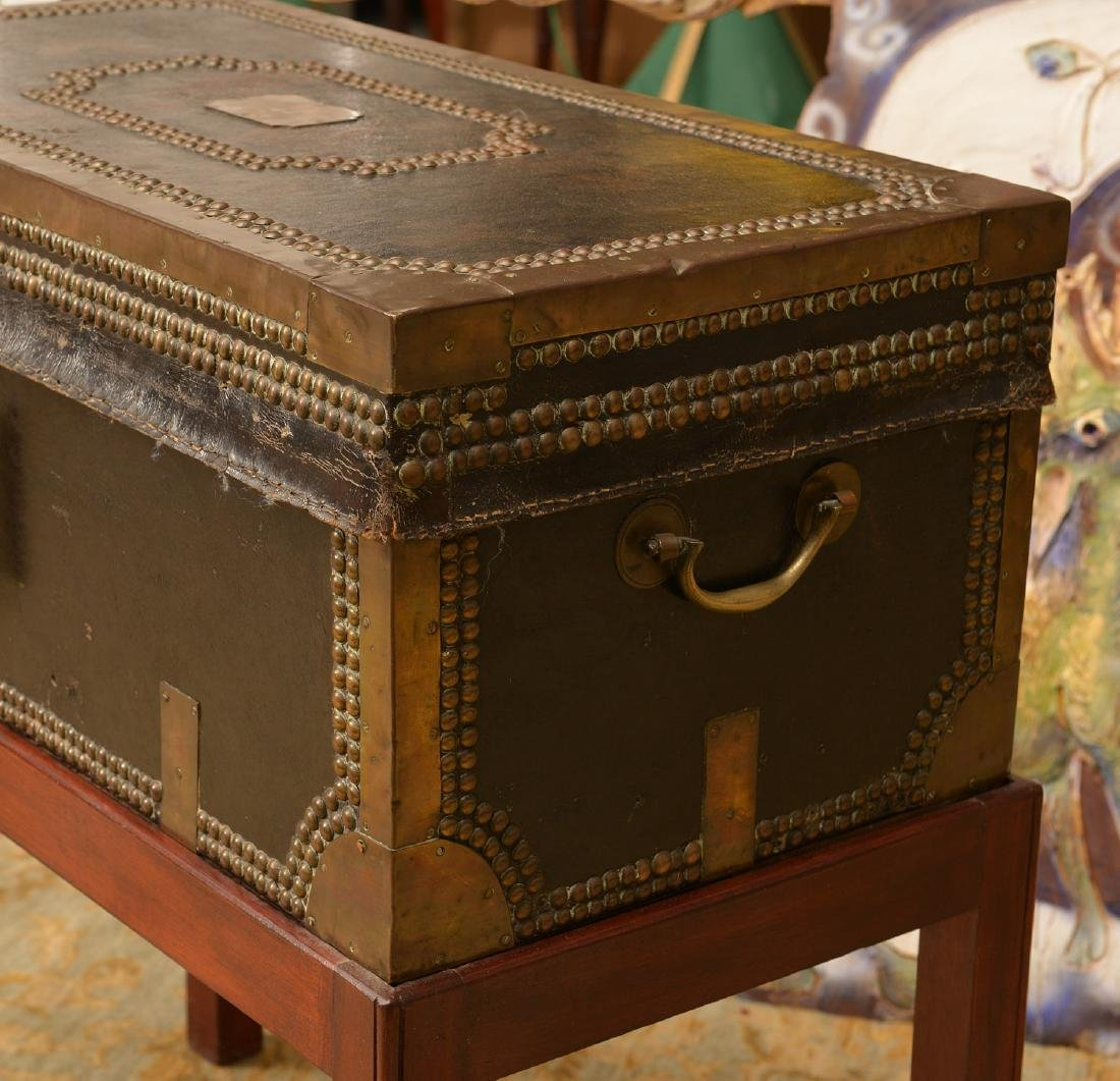 Chinese Export tacked leather trunk on stand - 4