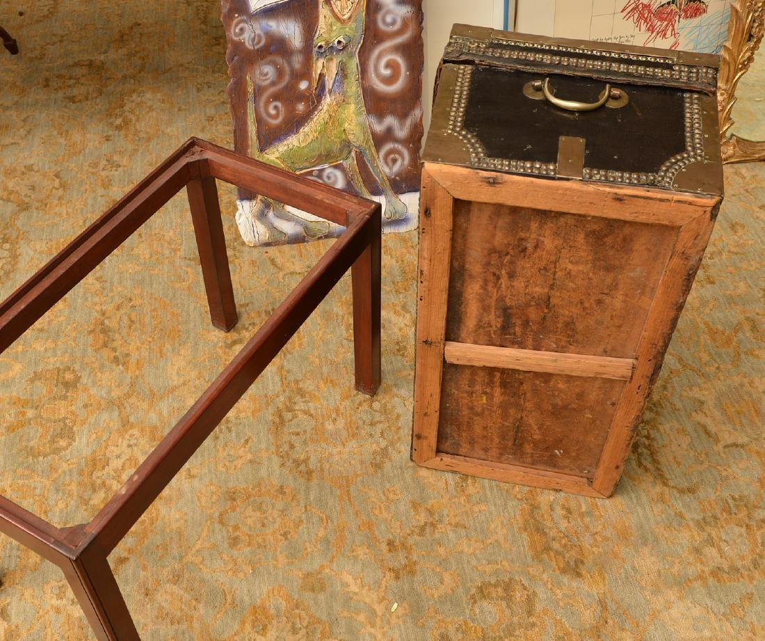 Chinese Export tacked leather trunk on stand - 5