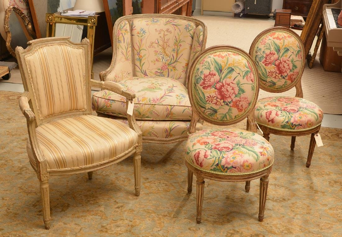 Group (4) Louis XV/XVI style painted chairs
