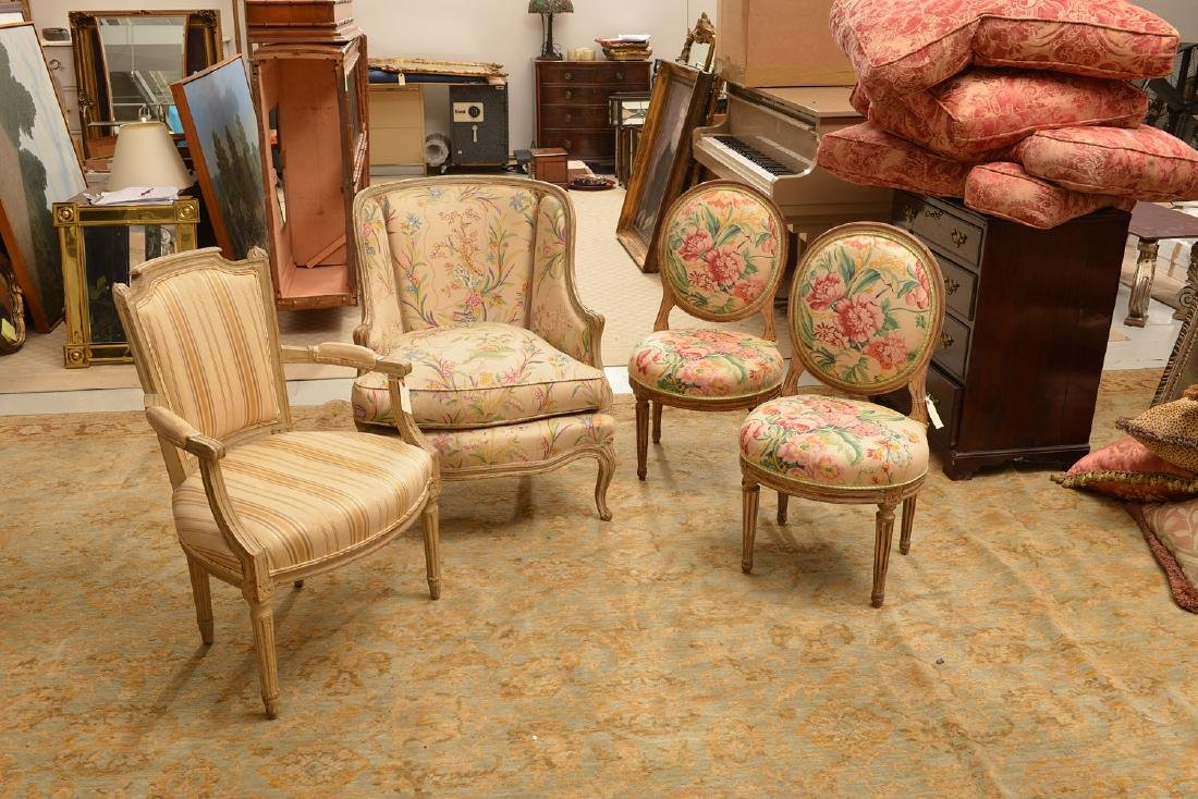 Group (4) Louis XV/XVI style painted chairs - 2