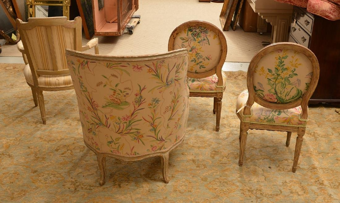 Group (4) Louis XV/XVI style painted chairs - 6